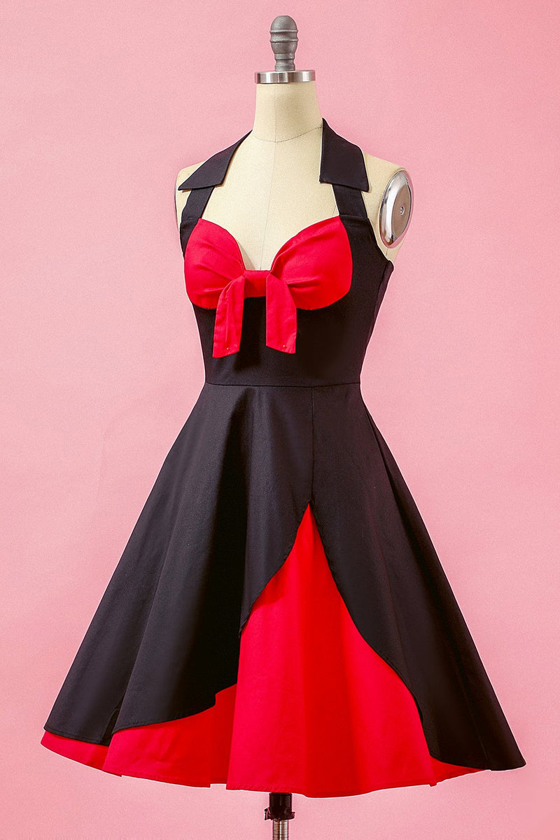 Load image into Gallery viewer, Black Patchwork V Neck Swing Party Dress