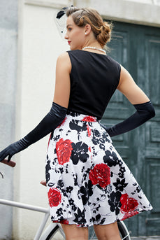 Patchwork Black & Printed Dress