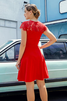 Lace Red Crepe Dress