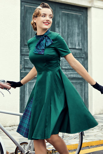 Green Plaid Swing Vintage 1950s Dress