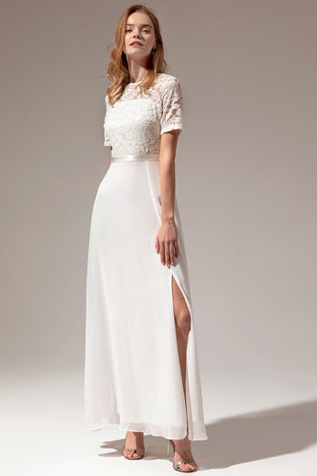 White A-line Formal Prom Dress With Lace