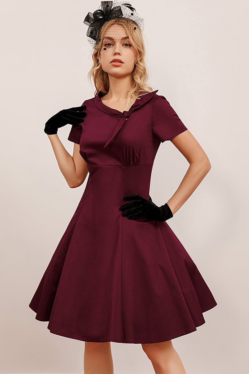 Load image into Gallery viewer, Burgundy Vintage Fall Dress with Sleeves