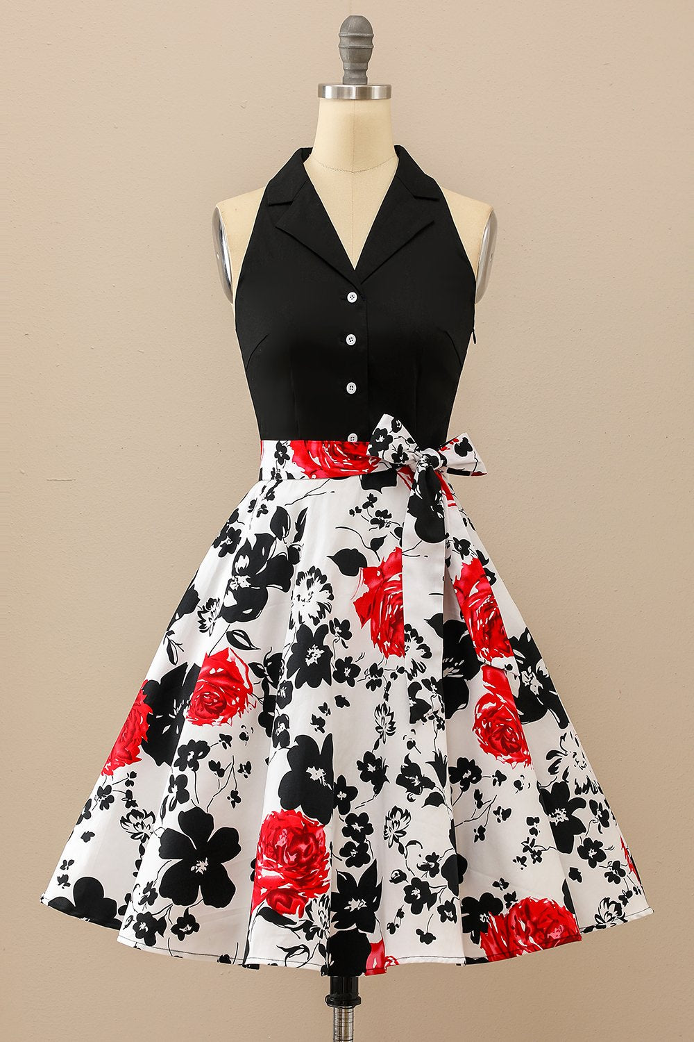 Floral Patchwork Belted Swing Dress