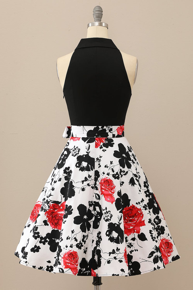 Load image into Gallery viewer, Floral Patchwork Belted Swing Dress