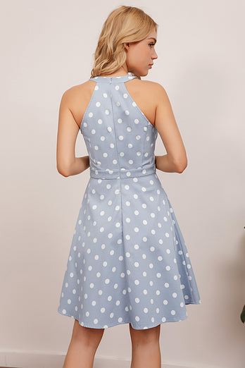 Blue Polka Dots Swing Dress