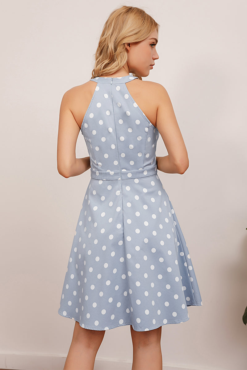 Load image into Gallery viewer, Blue Polka Dots Swing Dress