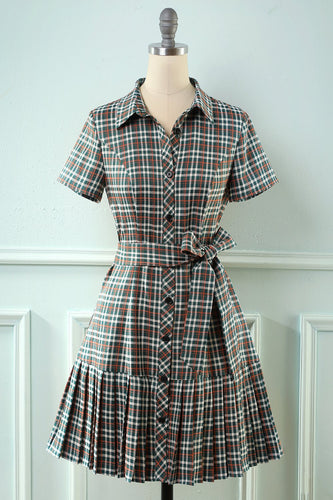 V Neck Grid Grey Vintage Dress with Short Sleeves