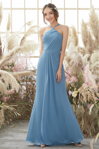 Baby Blue Halter Long Bridesmaid Dress