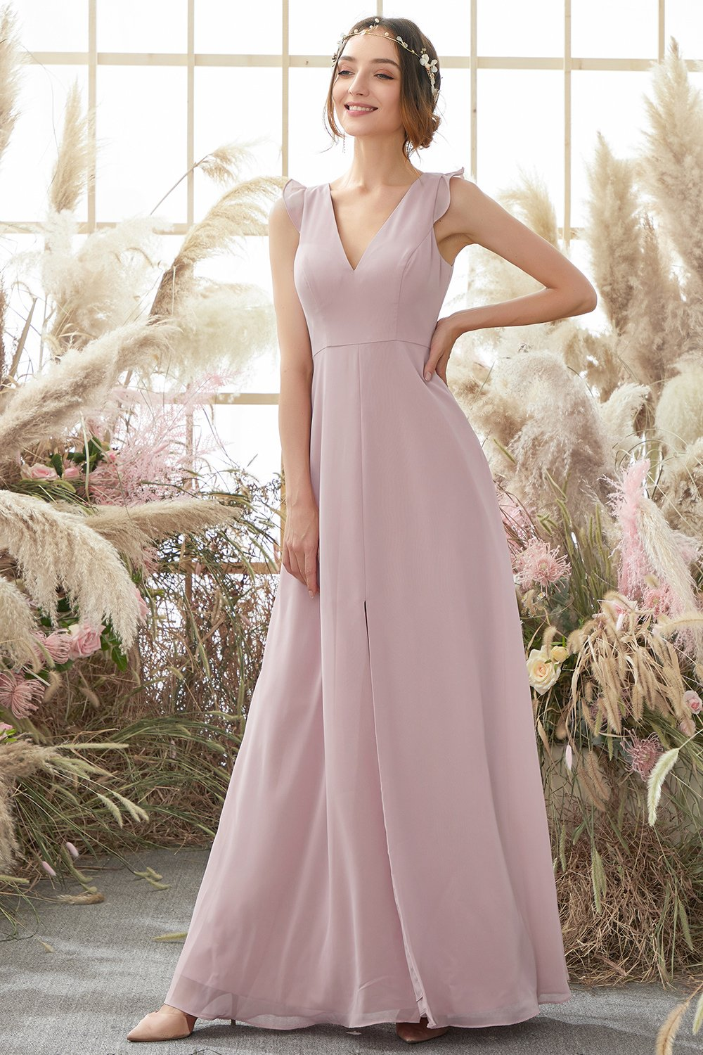Blush Open Back Chiffon Bridesmaid Dress
