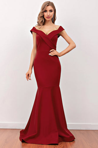 Burgundy Mermaid Long Prom Dress