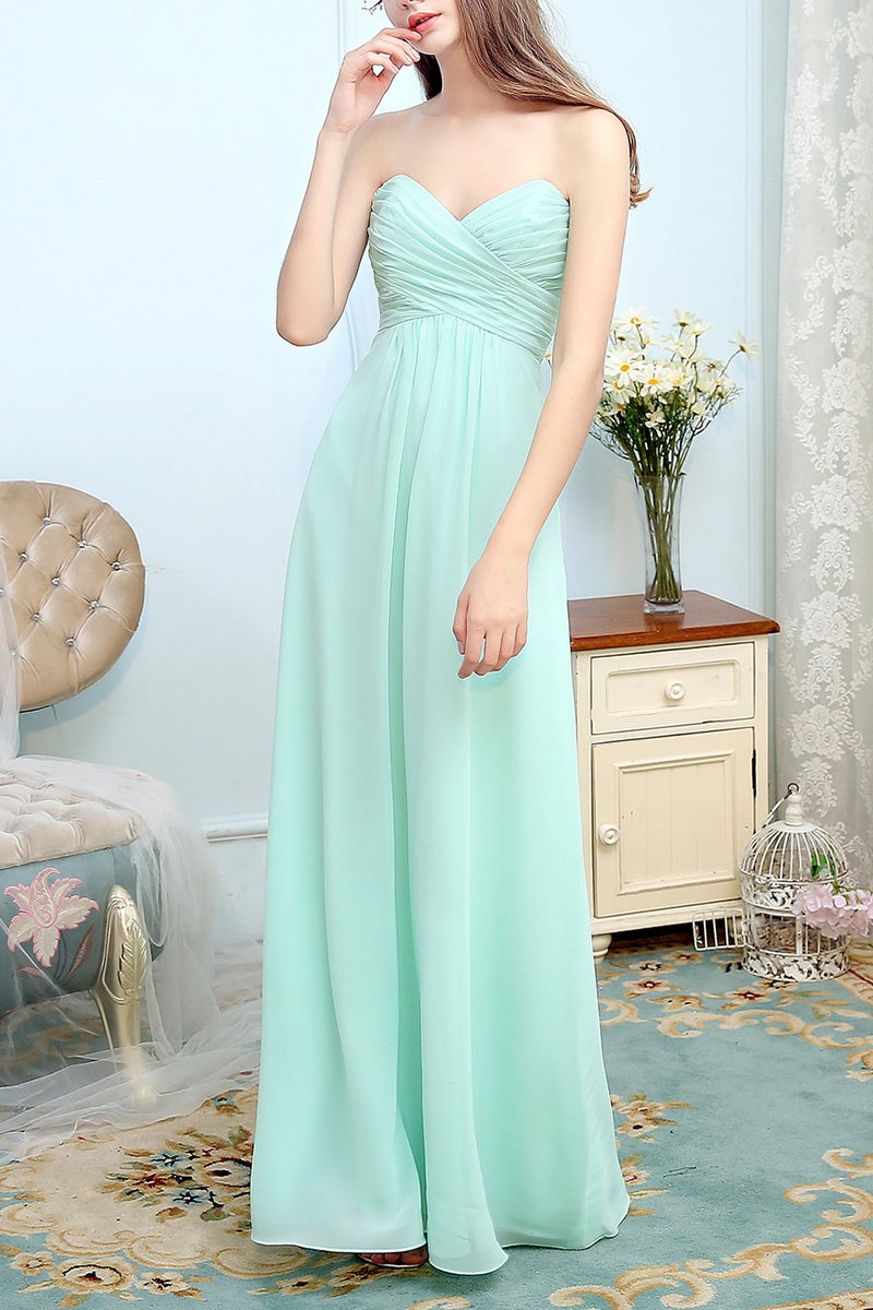 Load image into Gallery viewer, Sweetheart Long Chiffon Bridesmaid Dress With Ruffle