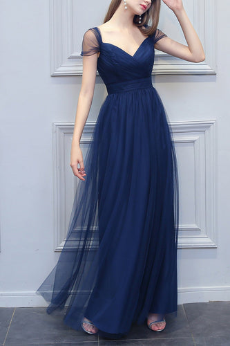 A-Line V-neck Long Tulle Bridesmaid Dress