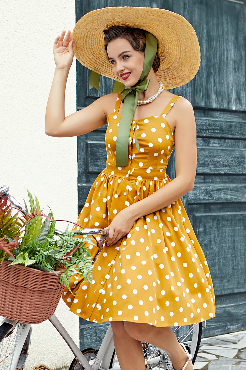 Load image into Gallery viewer, Yellow Polka Dots Vintage Dress