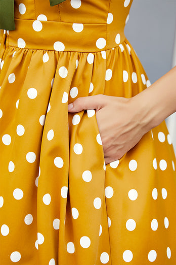 Yellow Polka Dots Vintage Dress