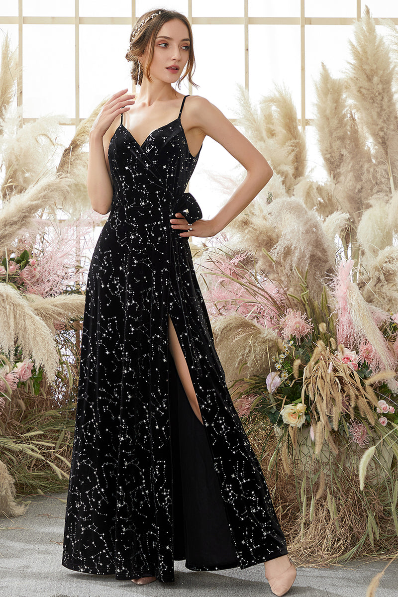 Load image into Gallery viewer, Black Star Printed Wrap Prom Dress