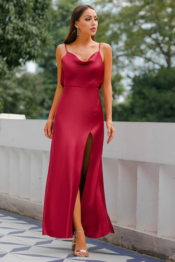 Mermaid Burgundy Long Prom Dress