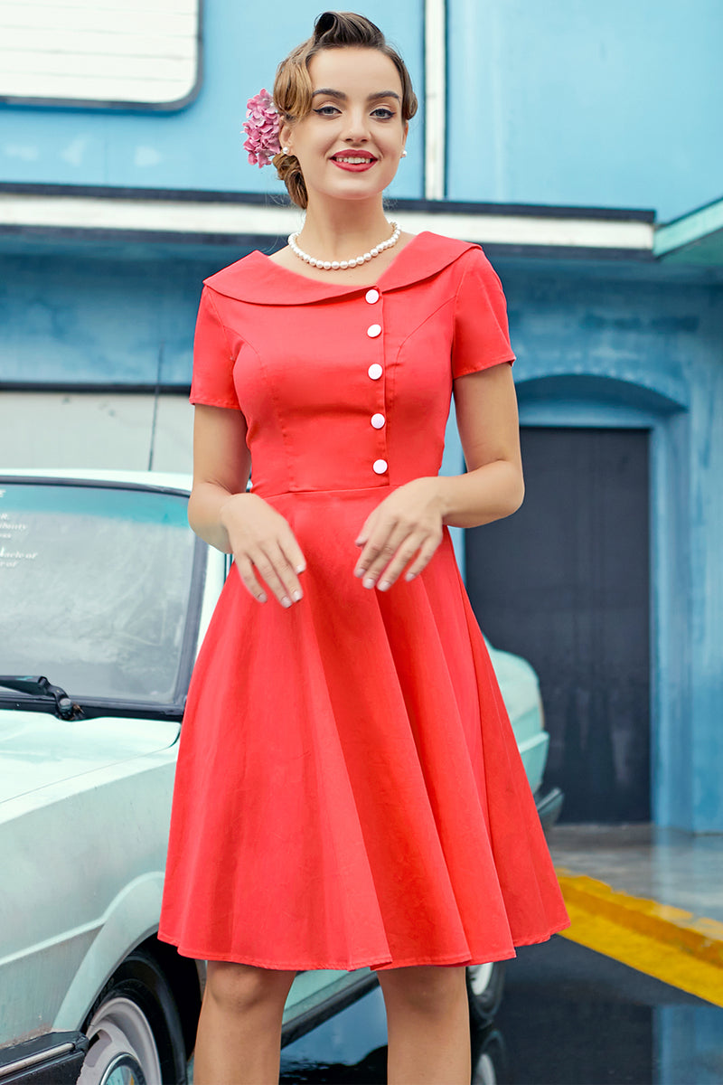 Load image into Gallery viewer, Coral Peter Pans Collar Button Dress
