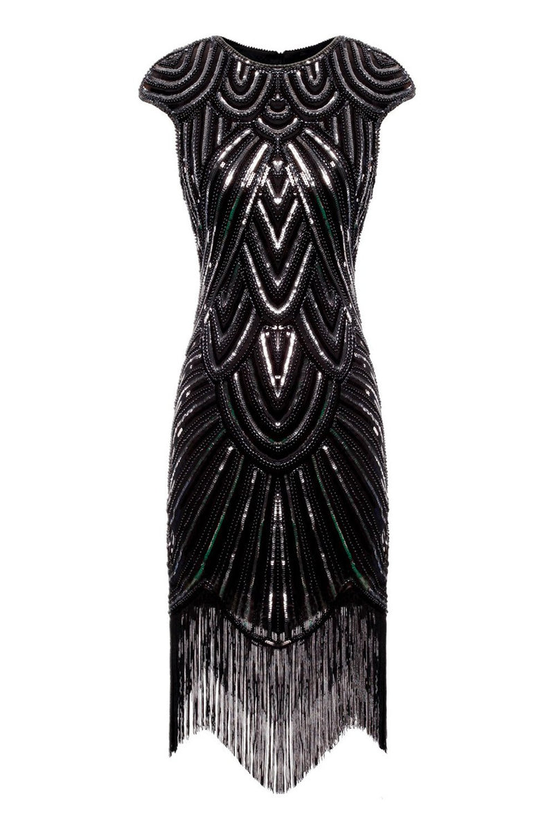 Load image into Gallery viewer, Burgundy Gatsby Glitter Fringe 1920s Dress