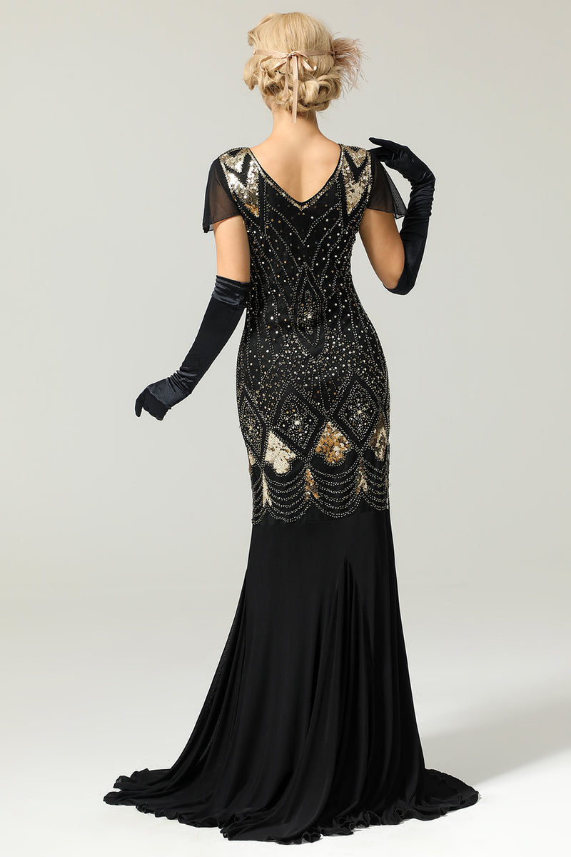Load image into Gallery viewer, Black 1920s Sequins Flapper Long Dress