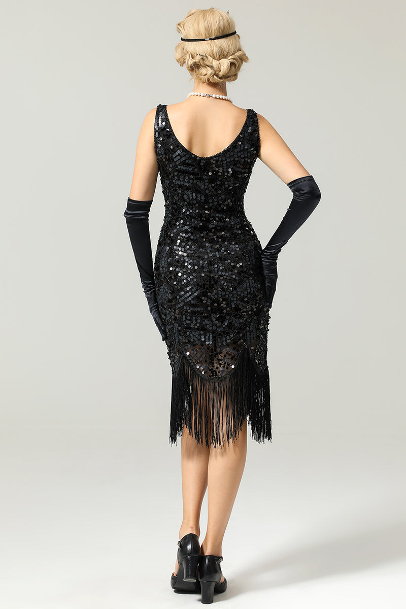 Load image into Gallery viewer, Women Black 1920s Fringe Sequin Flapper Dress