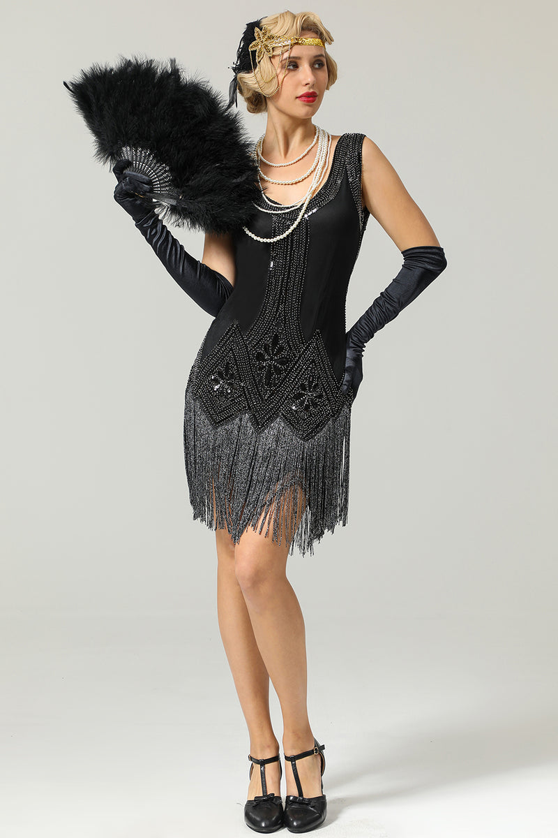 Load image into Gallery viewer, Black 1920s Sequined Flapper Dress