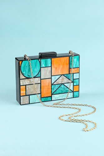 Geometry Patchwork Acrylic Party Handbag