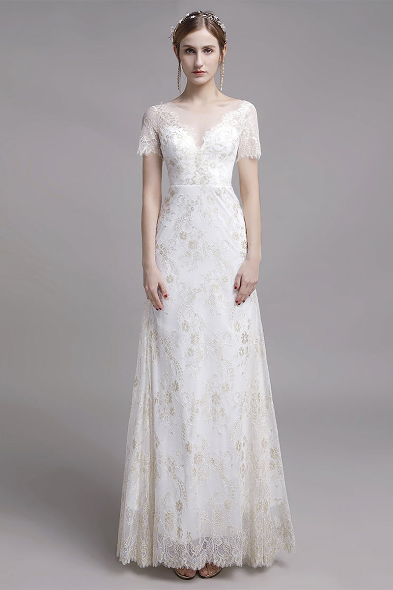 Load image into Gallery viewer, Mermaid V Neck Wedding Dress with Lace