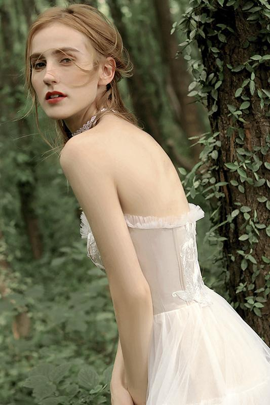 Load image into Gallery viewer, Champagne Strapless Tea-Length Wedding Dress