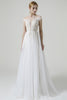 Load image into Gallery viewer, Champagne Ilusion Round Neck Long Wedding Dress