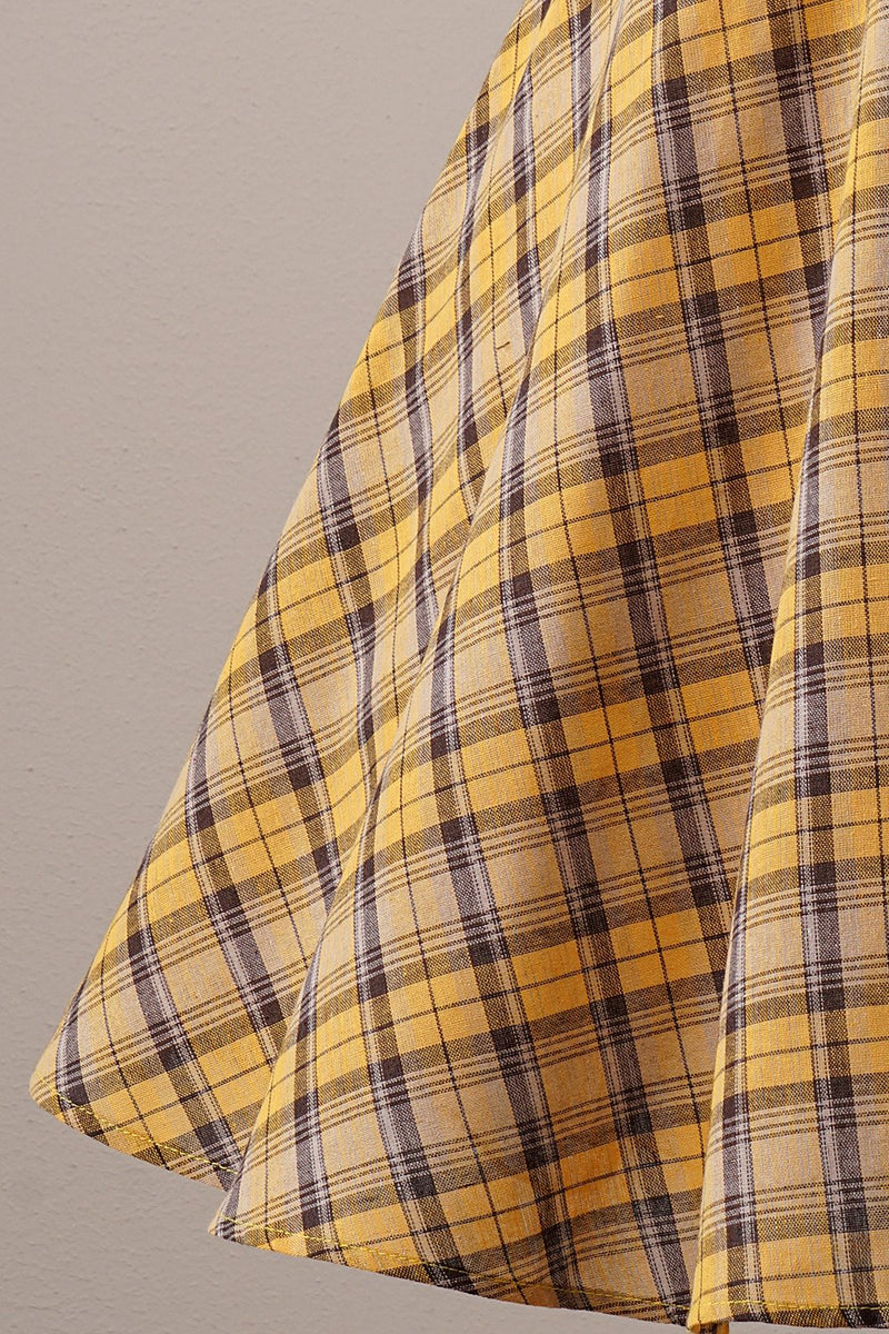 Load image into Gallery viewer, Yellow Plaid Vintage 1950s Dress