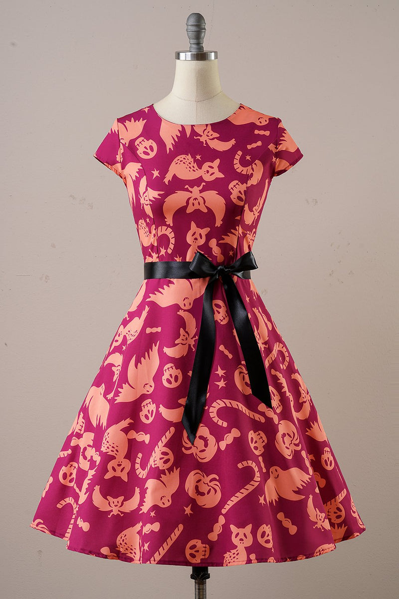Load image into Gallery viewer, Orange Halloween 1950s Vintage Dress