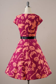 Orange Halloween 1950s Vintage Dress