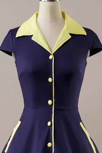 Navy Vintage 1950s Dress With Pockets