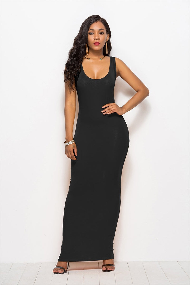 Load image into Gallery viewer, Black Casual Long Dress