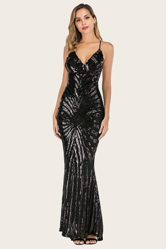 Black Mermaid Sequin Long Prom Dress