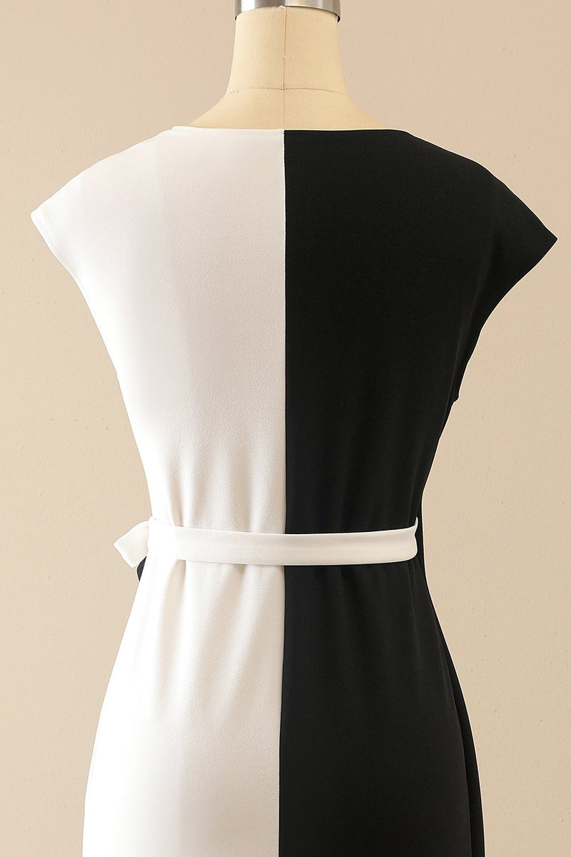 Load image into Gallery viewer, White & Black Bodycon Dress