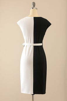 White & Black Bodycon Dress
