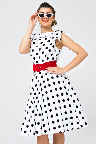 White Off-shoulder Dress with Black Polka Dots