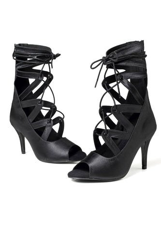 Black Lace Up Open Toed High Boots
