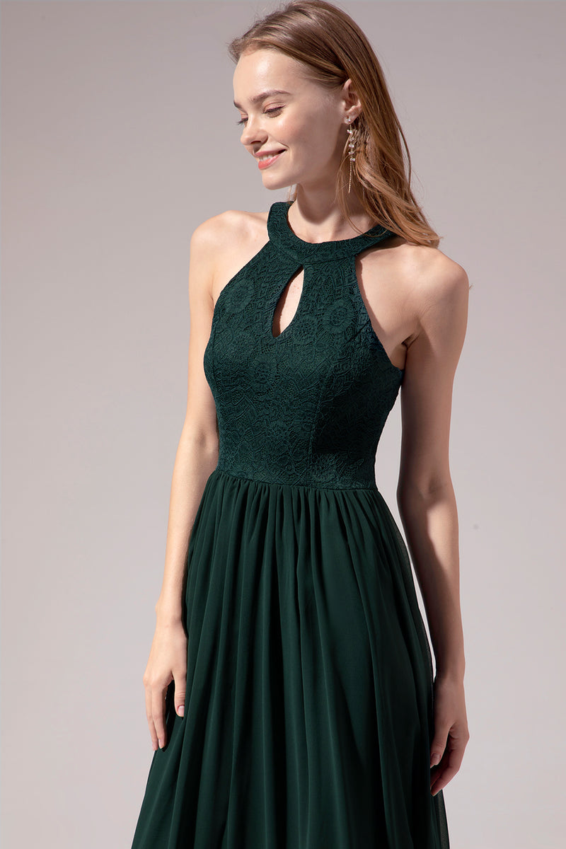 Load image into Gallery viewer, Dark Green Halter Long Dress