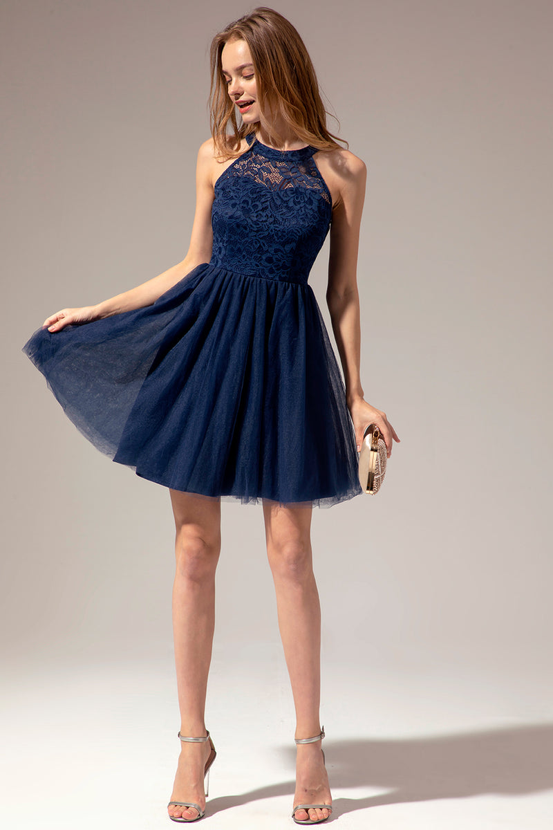 Load image into Gallery viewer, Navy Halter Lace Dress