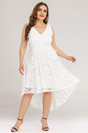 White Lace Asymmetrical Plus Size Dress