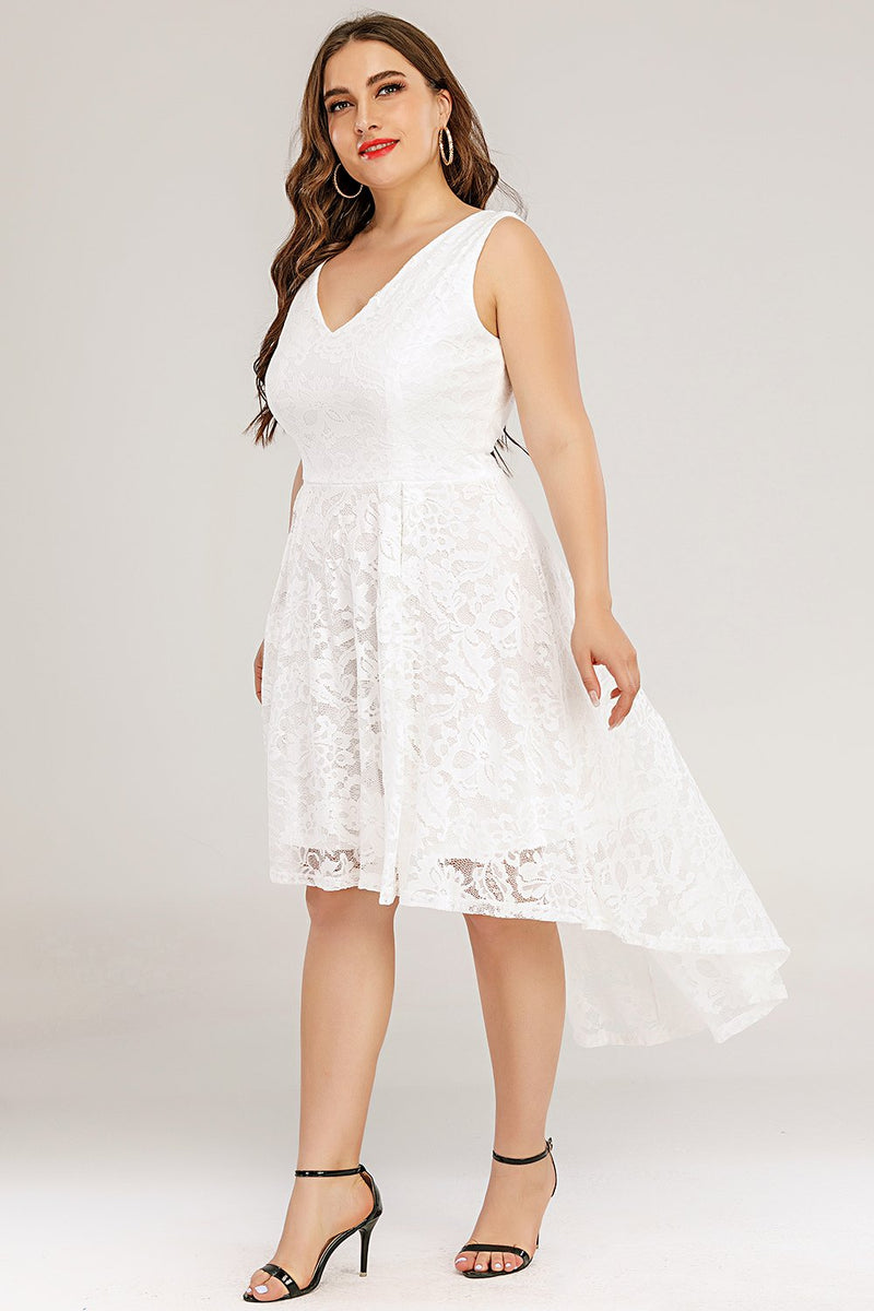 Load image into Gallery viewer, White Lace Asymmetrical Plus Size Dress
