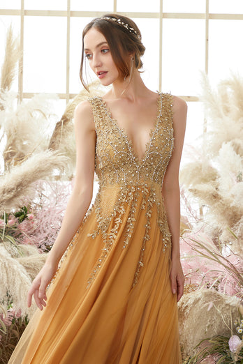 Deep V-neck Long Dress with Appliques