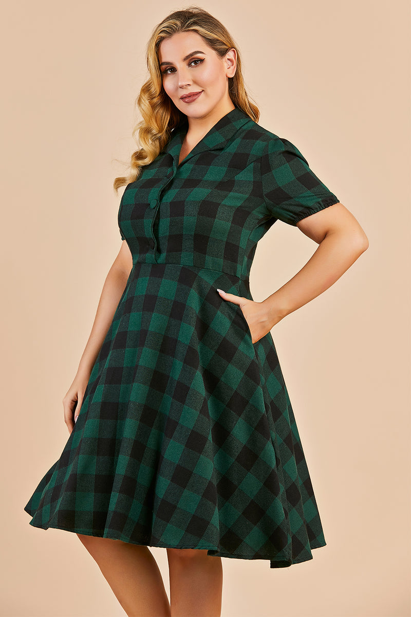 Load image into Gallery viewer, Green V-neck Button Retro Dress