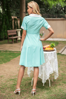 V Neck 1950s Swing Dress