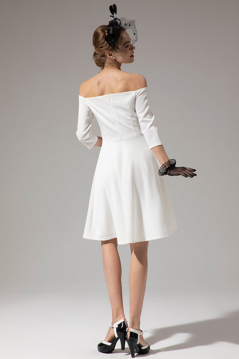 Load image into Gallery viewer, Off Shoulder White Midi Dress