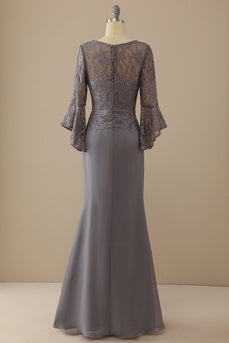 V Neck Lace Grey Mother of Bridal Dress Long Sleeves
