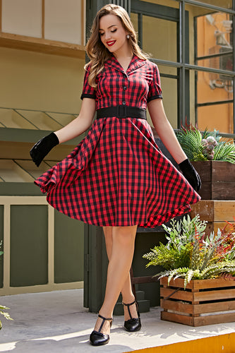 Red 1950s Plaid Swing Vintage Dress