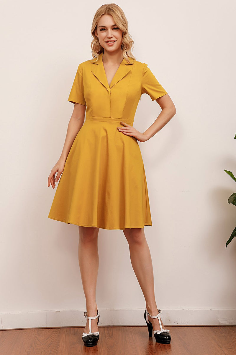 Load image into Gallery viewer, Lapel Yellow 1950s Dress